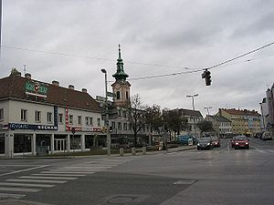 Schwechat - The central square in 2007