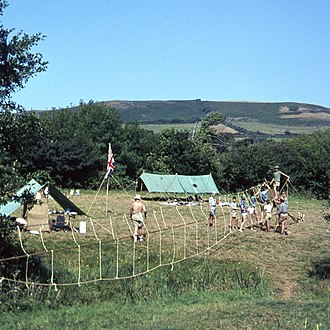 Pioneering (scouting) - A monkey bridge under construction