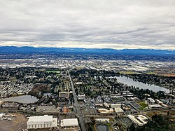 Areal view of SeaTac, featuring Angle Lake