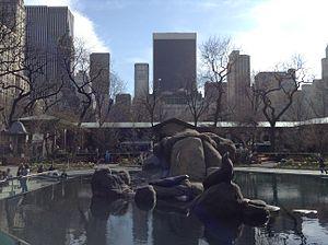 Central Park Zoo - Sea lion pool, as seen looking south toward Midtown Manhattan