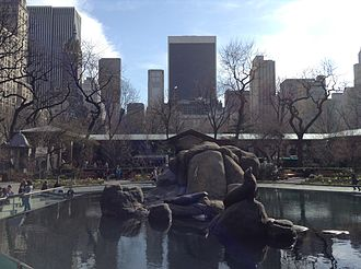 Central Park Zoo - Sea lion pool, as seen looking south toward Midtown Manhattan