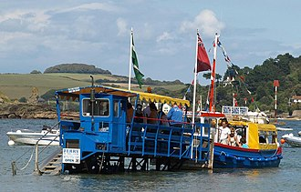 Sea tractor - The South Sands sea tractor docked with a ferry for the transfer of passengers, August 2011