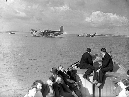 Foynes, Ireland was the European terminus for all transatlantic seaplane flights in the 1930s. Seaplanes at Foynes.jpg