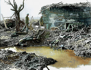 Finsbury Rifles - Captured German pillbox or 'Mebu' at Passchendaele