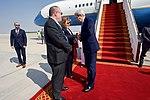 Secretary Kerry Shakes Hands With U.S. Ambassador to the United Arab Emirates Barbara Leaf Upon Arrival in Abu Dhabi, UAE (30698029010).jpg