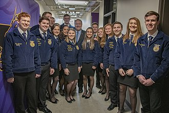 National FFA Organization - Secretary of State Mike Pompeo with Iowa FFA students in 2019