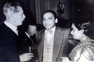 Harold Macmillan -  Macmillan with Indian Minister and head of Indian delegation Ashoke Kumar Sen and wife Anjana, daughter of Sudhi Ranjan Das