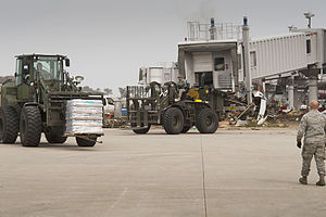 Sendai Airport - US Air Force personnel move supplies during efforts to reopen Sendai Airport.
