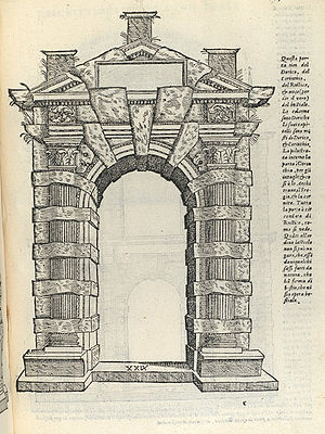 Rustication (architecture) - Serlio, rusticated doorway of the type now called a Gibbs surround, 1537