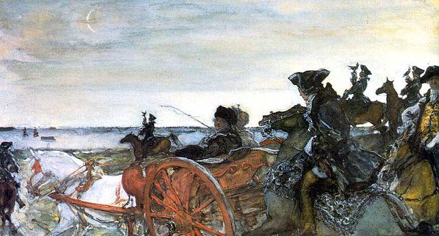Екатерина на соколиной охоте. Картина В. Серова.