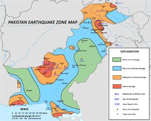Geology of Pakistan - Earthquake hazard zones of Pakistan