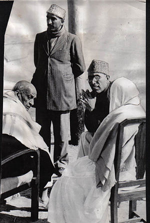 Sheikh Abdullah - Sheikh Mohammed Abdullah (right), chosen to head interim government in Kashmir, confers with Sardar Patel, deputy premier of India