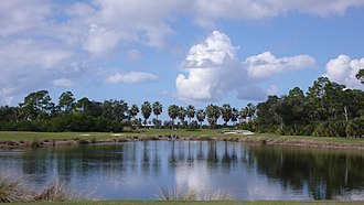 Hazard (golf) - A water hazard on the Shell Point Golf Course in Iona, Florida