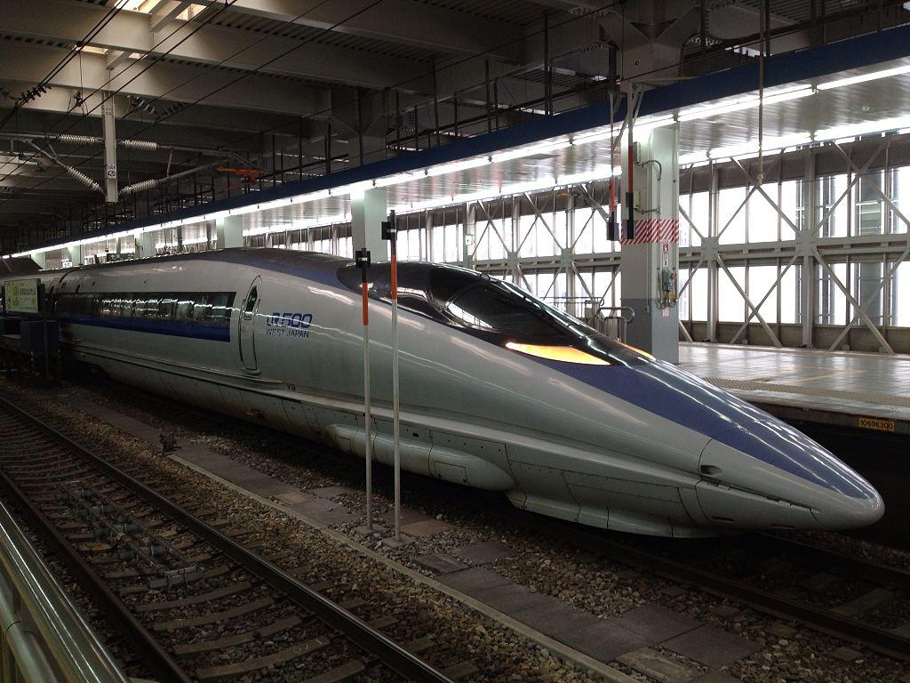Shinkansen Train stopping at Hakata Station