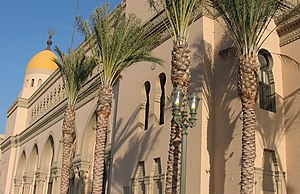 Picture of the front of the Shrine Auditorium ...