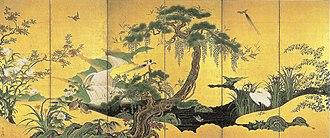 Kanō Einō - Image: Shunka kachō zu Byōbu by Kanō Einō (left panel)