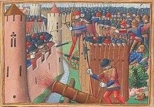 Assedio di Orléans nel 1428-29. L'uso dell'artiglieria accompagna l'assalto alle mura con torri mobili