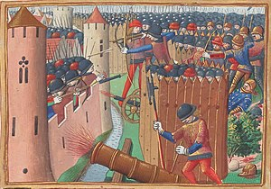Early modern warfare - An early depiction of artillery, in an illustration of the Siege of Orleans of 1429, by Martial d'Auvergne (1493).