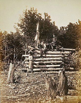 Signal Corps in the American Civil War - U.S. Army Signal Corps station on Elk Mountain, Maryland, overlooking the Antietam battlefield.