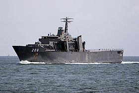 Singapore Strait Passing warship.jpg