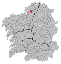 Location of A Capela within Galicia