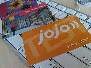 Skånetrafiken - Various Skånetrafiken payment cards. From left: Malmöhus Läns stadstrafik rabattkort, Skånetrafiken periodkort, Skånetrafiken jojo test card