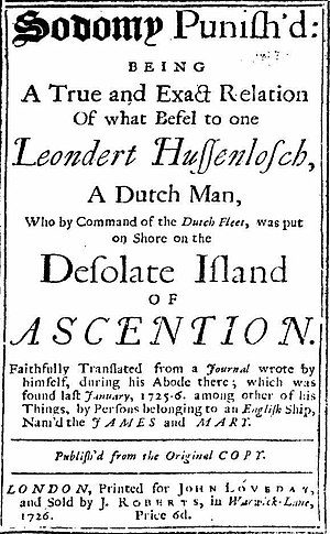 Leendert Hasenbosch - Title page of Sodomy punish'd: Being a true and exact relation of what befel to one Leondert Hussenlosch, a Dutch man, who by command of the Dutch fleet, was put on shore on the desolate island of Ascention.' John Loveday, London 1726.