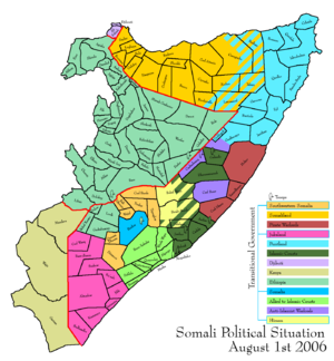 Advance of the Islamic Courts Union - Map depicting the political situation in Somalia on August 1, 2006