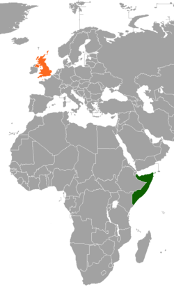 Map indicating locations of Somalia and United Kingdom
