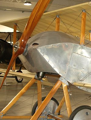 Gnome Monosoupape - The Sopwith Tabloid reproduction shows the sheet-metal cowling used to redirect the oil sprayed by the rotating engine.