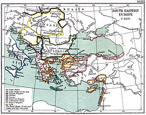 Manuel Maurozomes - Map of southeastern Europe and Asia Minor, showing the Nicaean Empire and Seljuk Sultanate ca. 1210