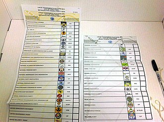 South African municipal elections, 2011 - Two ballot papers from the 2011 South African municipal election in Cape Town. The ballot on the left is for the party-list proportional representation vote for the Cape Town City Council and the ballot on the right is for the election of the local councillor in Ward 59.