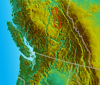 Quesnel Highland - Approximate boundary of the Quensel Highland