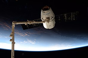 SpaceX CRS-12 Dragon grappled by the ISS Canadarm2.jpg