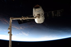 SpaceX CRS-12 - The CRS-12 Dragon spacecraft grappled by Canadarm2