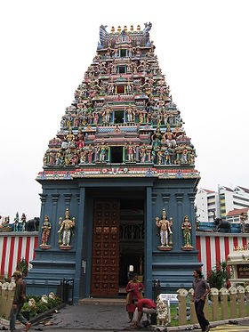 The gopuram of Sri Srinivasa Perumal Temple