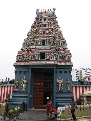 Hinduism in Singapore - Entrance of Sri Srinivasa Perumal Temple.