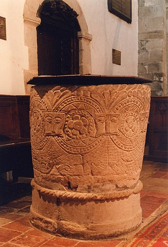 Morville Priory - Font of St Gregory's, Morville, considered possibly of Norman date, but with later additions.