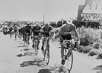 1971 Tour de France - Eddy Merckx at the front of the group of leaders on stage two between Mulhouse and Basel, Switzerland