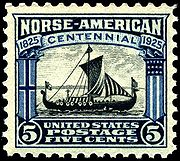 Stamp US 1925 5c Norse-American