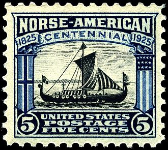 Norwegian Americans - A 1925 U.S. postage stamp featuring the ship Viking honoring the 100th anniversary of Norwegian immigration.