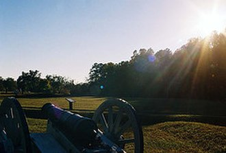 Ninety Six National Historic Site - Sunset over the battlefield at Star Fort.