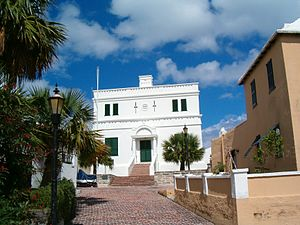 United Kingdom - The State House in St. George's, Bermuda.  Settled in 1612, the town is the oldest continuously-inhabited English town in the New World.