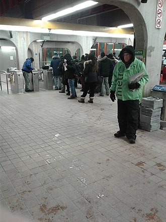 Free newspaper - Distribution of Metro in the Montreal Metro, Canada