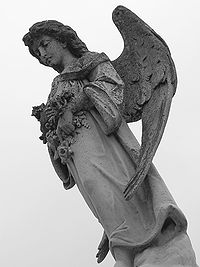 Gothic revival angel in a cemetery in Metairie, Louisiana.