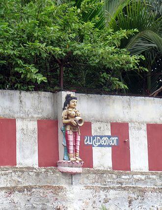 Yamuna in Hinduism - deviyamuna statue in Amirthakadeswarar Temple, Sakkottai