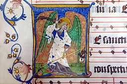 St. Michael weighing souls during the Last Judgement, Antiphonale Cisterciense (15th century), Abbey Bibliotheca, Rein Abbey, Austria Stift Rein - Bibliothek, Antiphonale Cisterciense, Miniatur Erzengel Michael.jpg