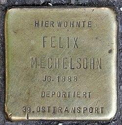 Photo of Felix Michelsohn brass plaque