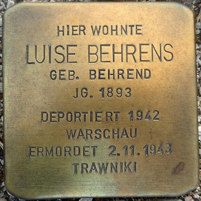 Stolperstein Gardelegen Sandstraße-Marktstraße Luise Behrens