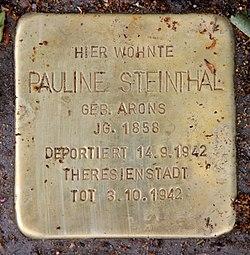 Photo of Pauline Steinthal brass plaque